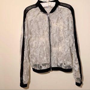 Elvi Sheer Lace Floral Bomber Jacket Silver/Black